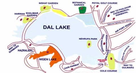 Dal lake map